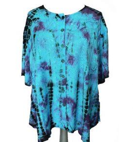 Rapp blouse plussize turqoise