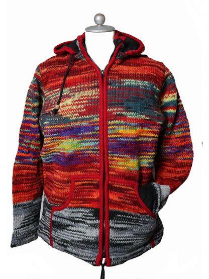 Wollen vest Nepal rainbow L