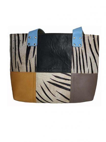 leren shopper zebra kant 1