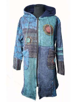 Lange blauwe jas uit Nepal