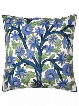 kussen blauw groene bloemen