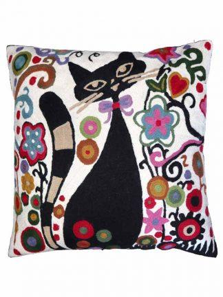 Kussen met zwarte kat