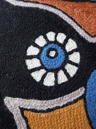 Kussen uil petrol close-up