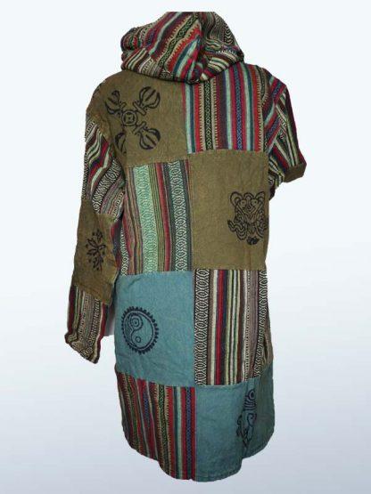 Lange jas funky threadz groen achterkant