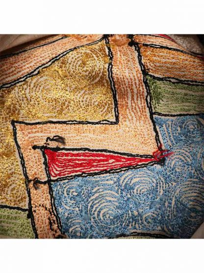 Sierkussen glans Picasso gezicht links achterkant