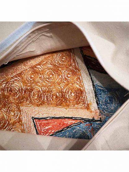 Sierkussen glans Picasso gezicht links kleur 3 achterkant