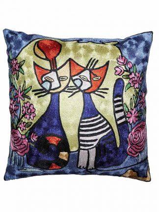 zijden kussen met 2 katten