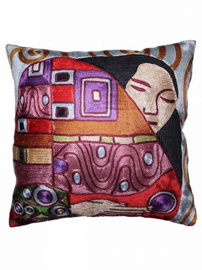 Zijden kussen Klimt de kus kleur 1