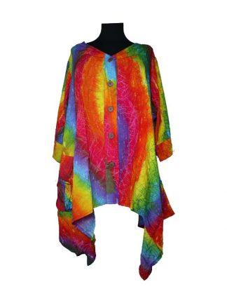 Batik bloes 2 pocket regenboog