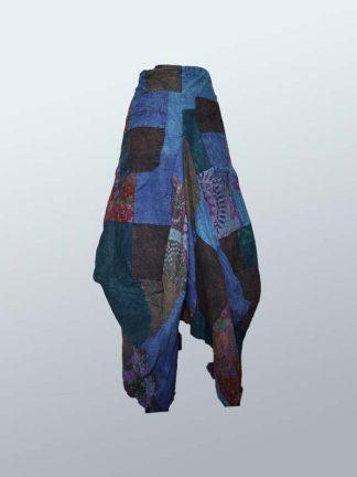 blauwe patchwork rok