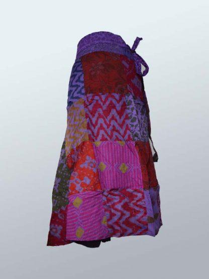 Wikkelrok katoen patchwork paars