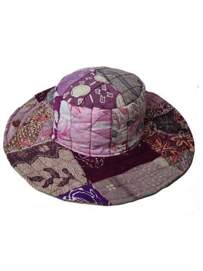 omkeerbare batik hoed paars/oker