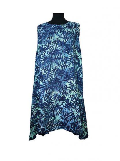 blauwe batik jurk A-line