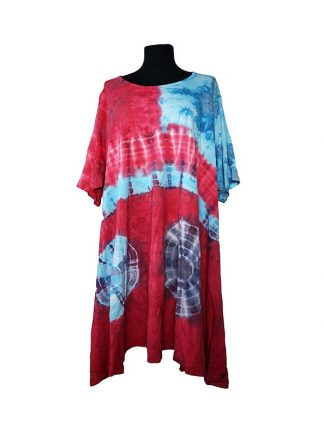 Thombiq jurk met mouw rood blauw