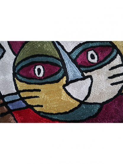 handgemaakt wandkleed kat detail