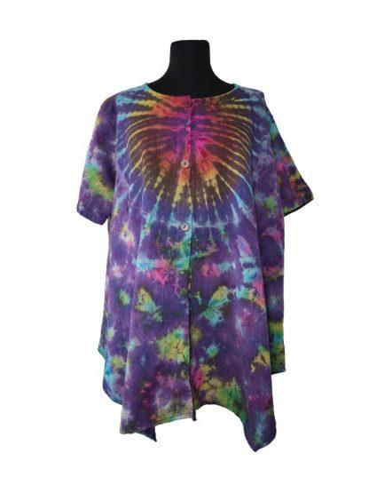 Plussize bloes tie dye paars