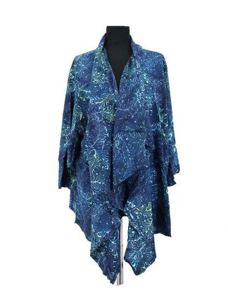 Batik sjaalvest blauw