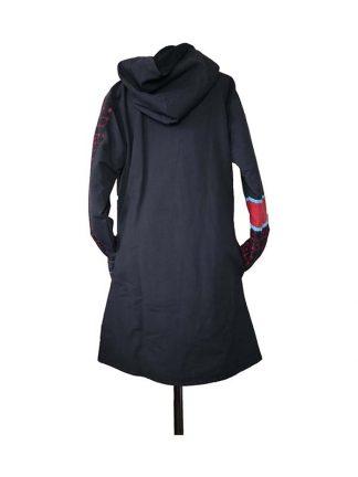 Lange jas zwart rood achterkant