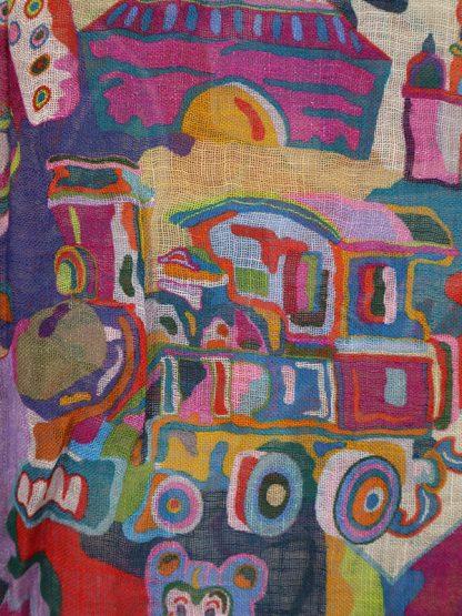 Linnen sjaal prentenboek detail