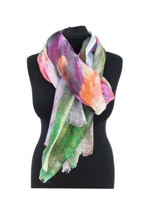 Kleurrijke linnen sjaal