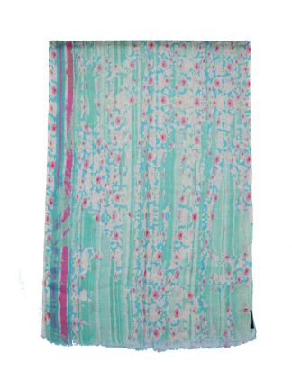 turqoise sjaal bloemenprint