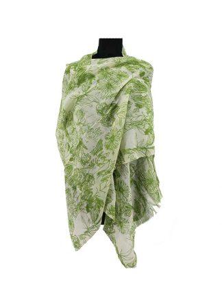 Wolwitte sjaal met groene print