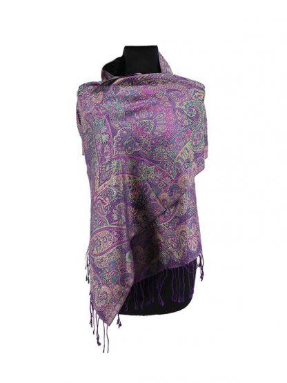 paarse zijden shawl
