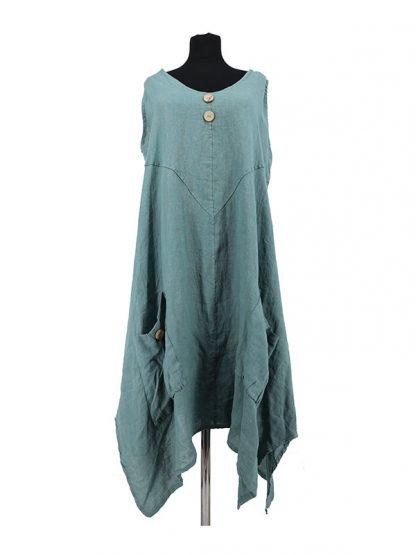 Effen groene linnen zomerjurk