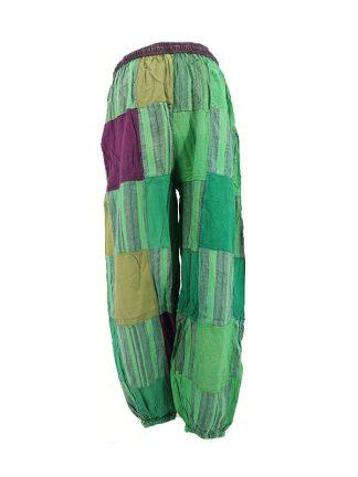 indiabroek groen patchwork achterkant