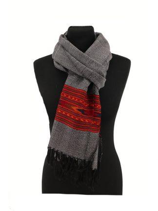 Donkergrijze wollen sjaal