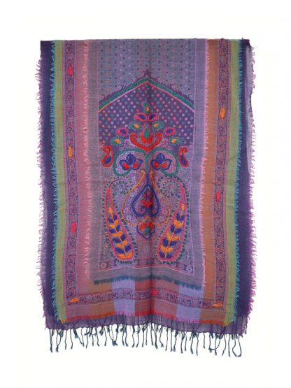 Paarse wollen shawl met laagjes c