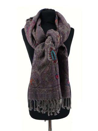 Wollen shawl grijs_paars