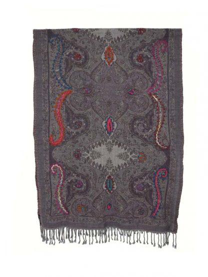 Wollen shawl grijs_paars 1b