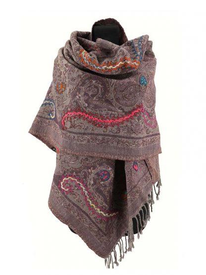 Wollen shawl grijs_paars omslagdoek