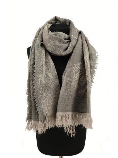 grijze wollen shawl c