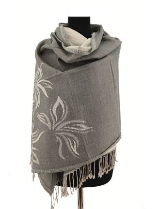 grijze wollen shawl met pailletjes a