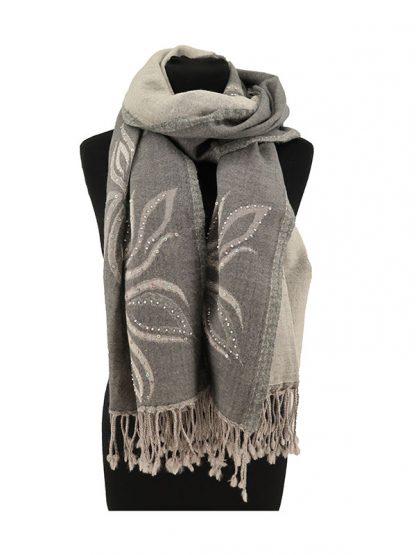 grijze wollen shawl met pailletjes b