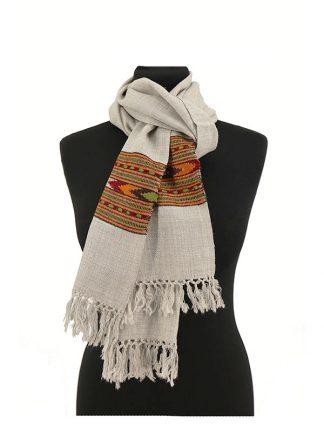 lichtgrijze wollen sjaal
