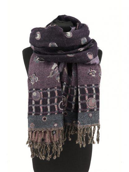 paarse wollen shawl met vlinders b