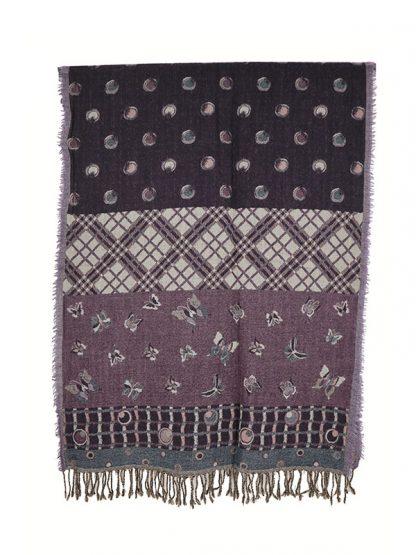 paars wollen shawl met vlinders c