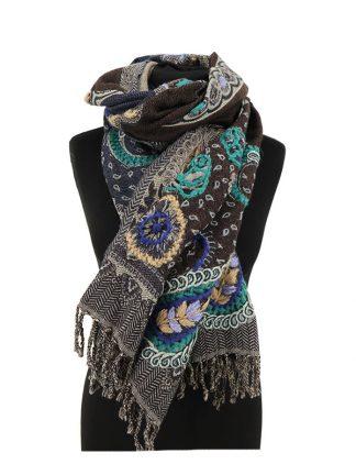 kasjmier sjaal blauw bruin