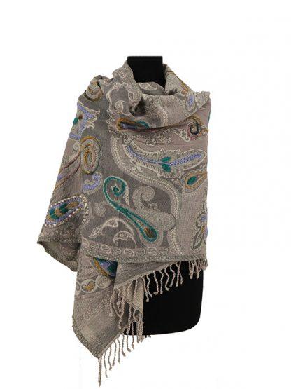 lichtgrijze kashmir sjaal