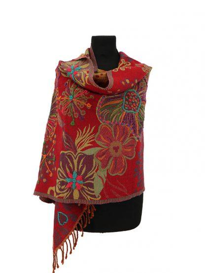 rode kasjmier sjaal met bloemen