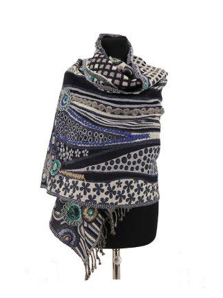 zwartgrijze kasjmier sjaal