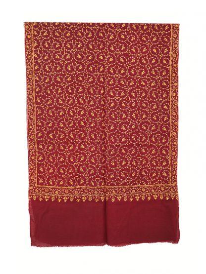 Donkerrode cashmere wollen shawl met needlework c