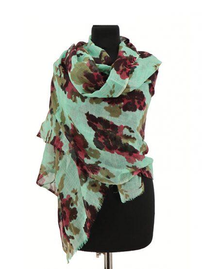 wollen sjaal bloemenprint