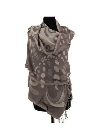 Grijs witte wollen shawl a