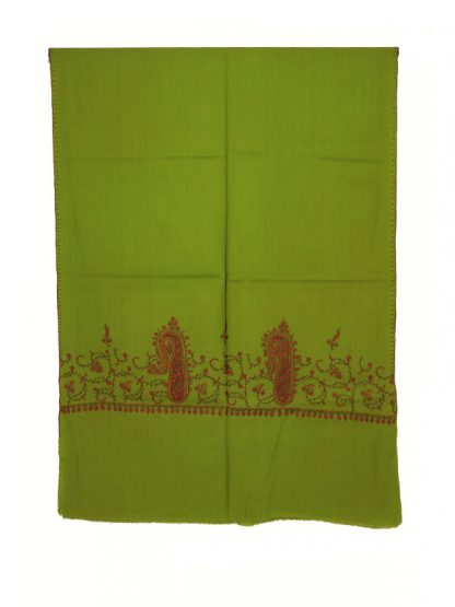 groene pashmina met handborduur