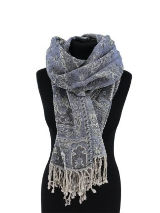 blauwgrijze jamawar sjaal