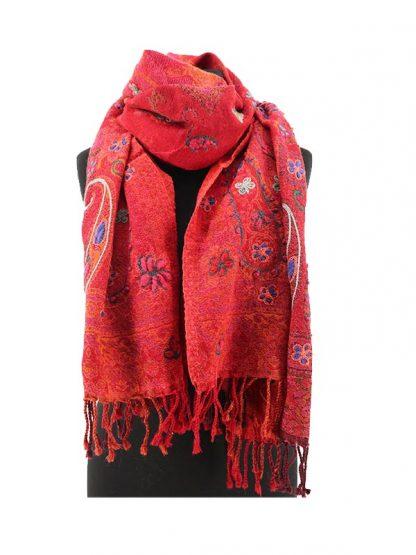 Rode wollen kasjmier sjaal